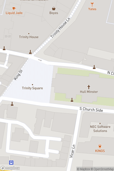 A map indicating the location of The Sistine Chapel at Hull Minster