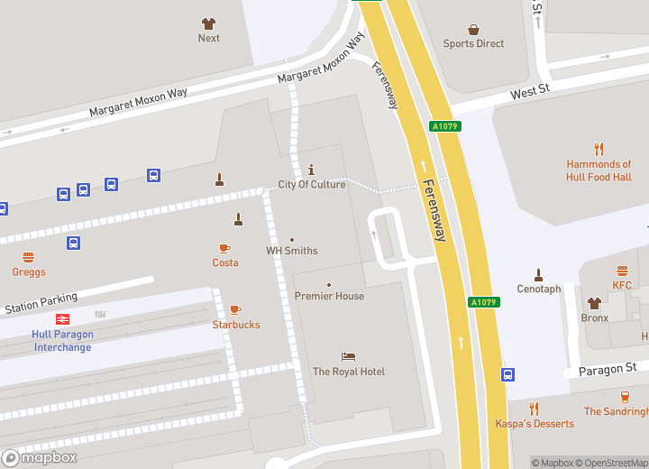 A map indicating the location of Hull Travel Centre