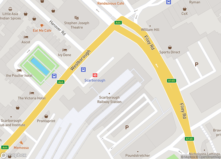 A map indicating the location of Scarborough Travel Centre