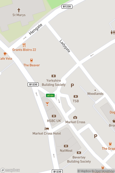 A map indicating the location of Beverley Festival of Christmas