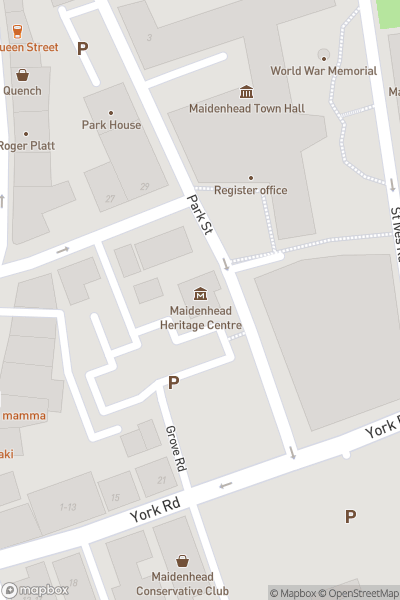 A map indicating the location of Maidenhead Heritage Centre