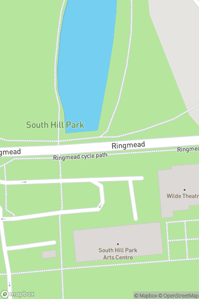 A map indicating the location of South Hill Park