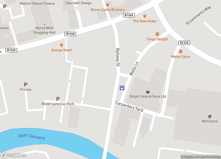 A map indicating the location of Malton bus station