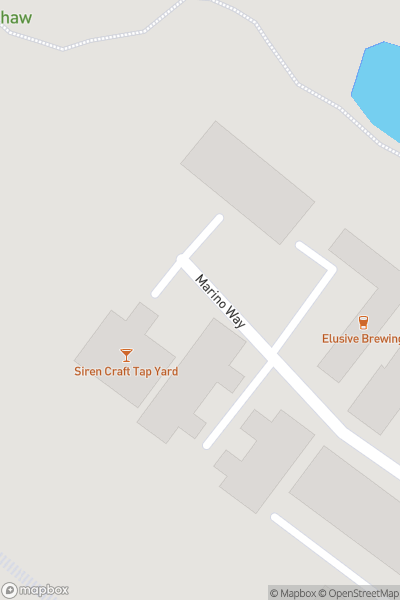 A map indicating the location of Siren Craft Brew Tap Yard