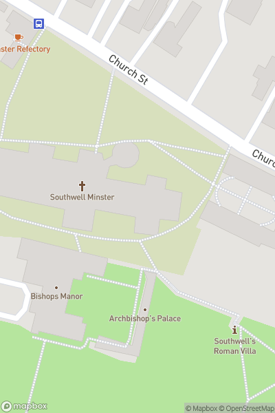 A map indicating the location of Southwell Minster
