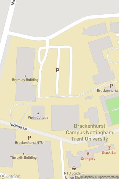 A map indicating the location of Brackenhurst Campus