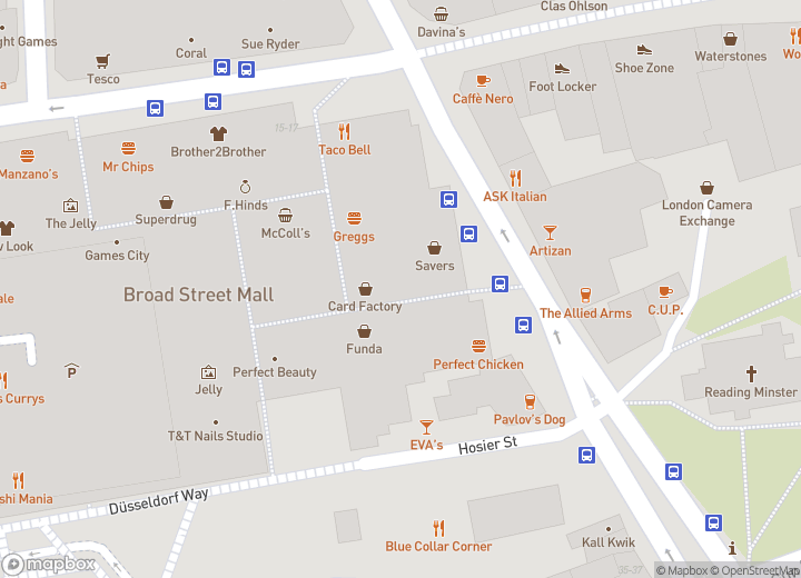 A map indicating the location of Broad Street Mall