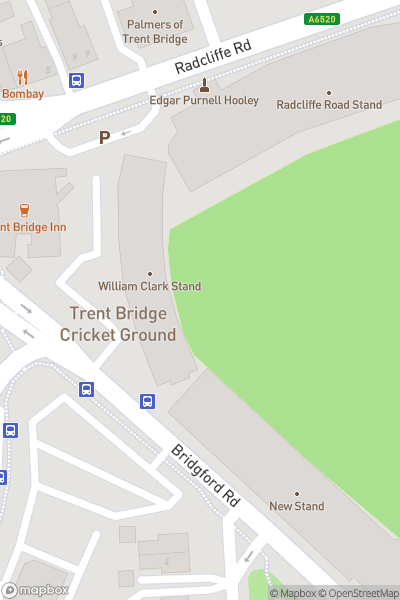 A map indicating the location of Trent Bridge Cricket Ground