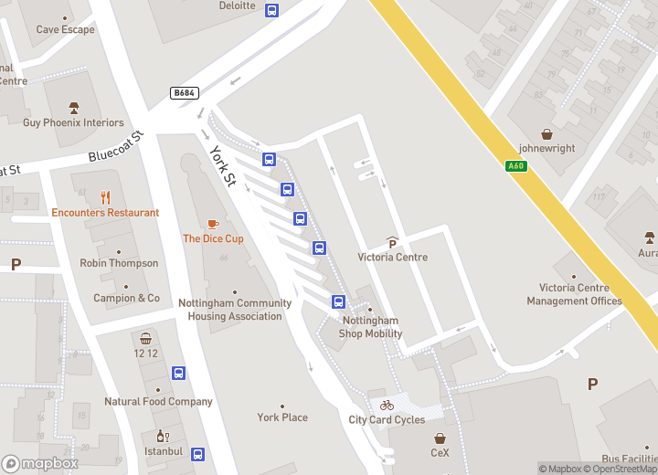 A map indicating the location of Victoria Bus Station