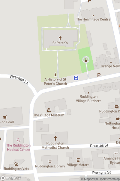 A map indicating the location of Ruddington Market