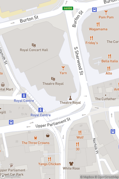 A map indicating the location of Cinderella at the Theatre Royal