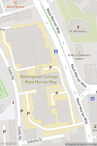 A map indicating the location of Nottingham College - Maid Marian Way