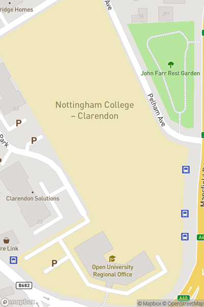 A map indicating the location of Nottingham College - Clarendon