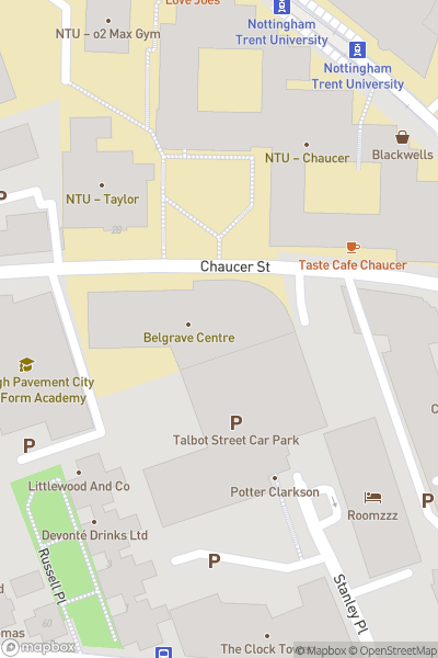 A map indicating the location of Nottingham College - High Pavement