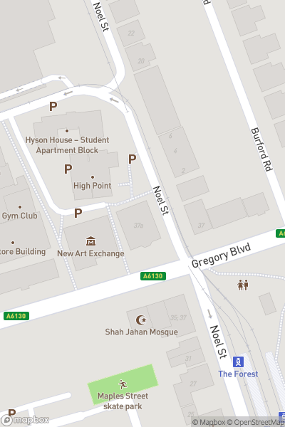 A map indicating the location of New Art Exchange (NAE)