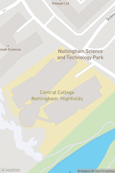 A map indicating the location of Nottingham College - Highfields