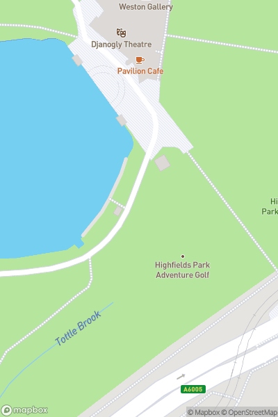 A map indicating the location of Highfields Park Adventure Golf