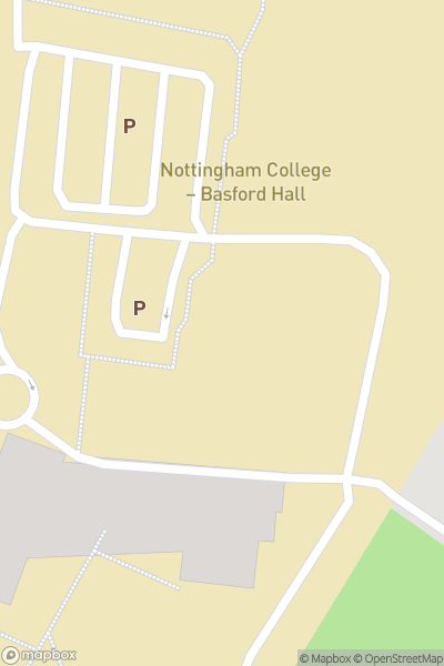 A map indicating the location of Nottingham College - Basford Hall Campus