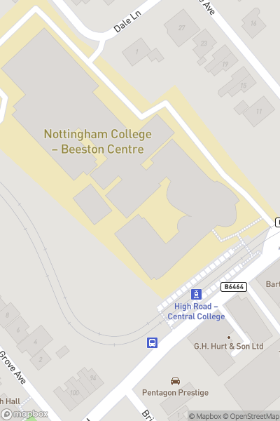 A map indicating the location of Nottingham College - Beeston Campus