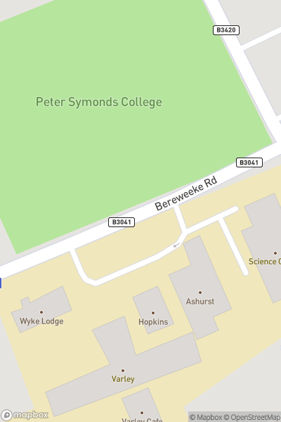 A map indicating the location of Peter Symonds College