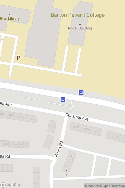 A map indicating the location of Barton Peveril Sixth Form College