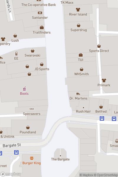A map indicating the location of Southampton Christmas Market & Flying Santa