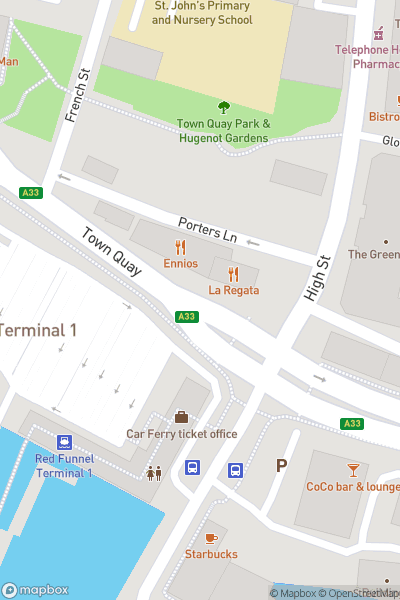 A map indicating the location of Southampton Boat Show