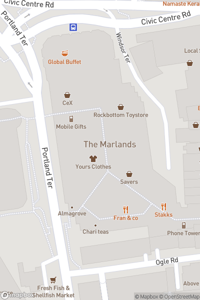A map indicating the location of The Marlands