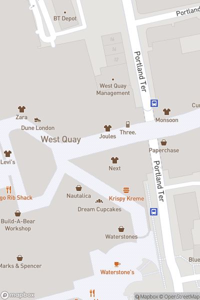 A map indicating the location of Westquay Shopping and Leisure