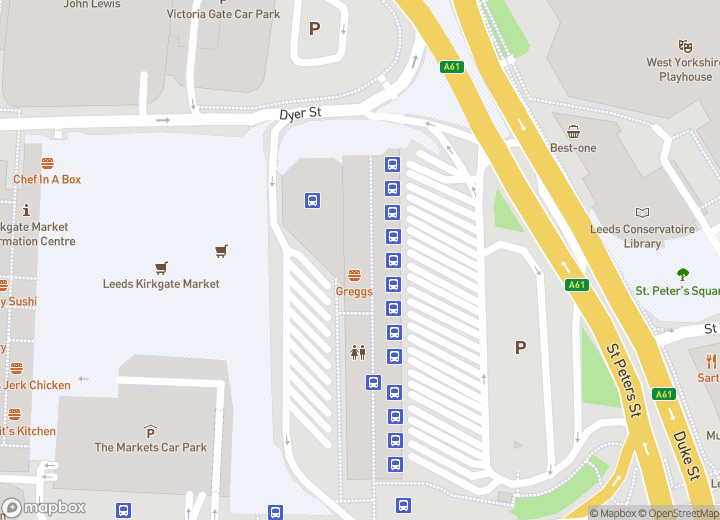A map indicating the location of Leeds city bus station