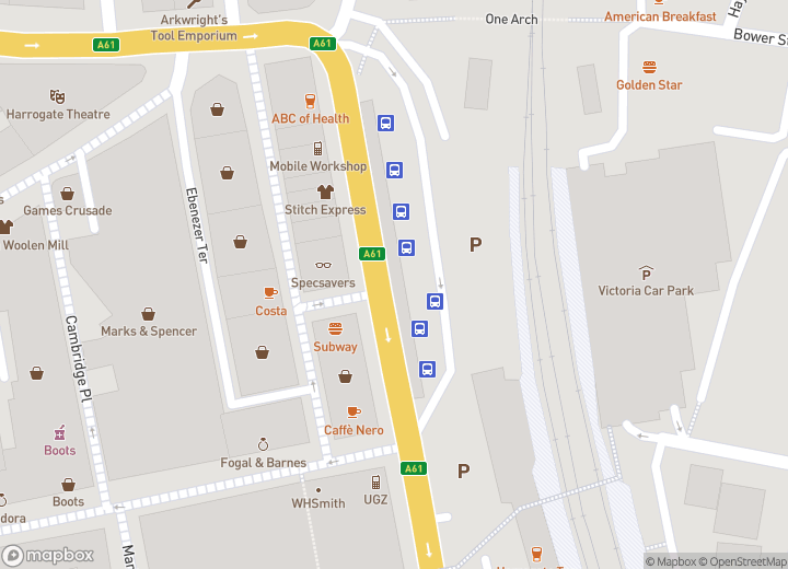 A map indicating the location of Harrogate bus station