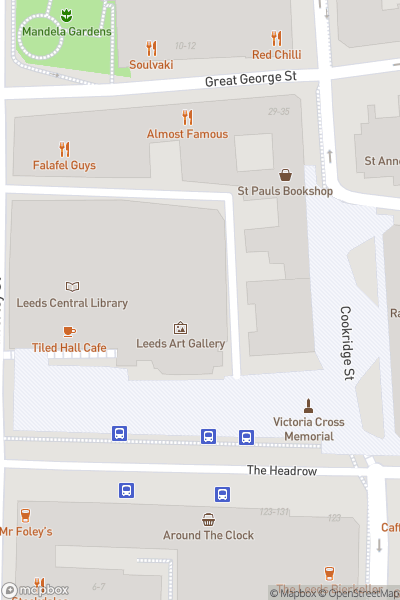 A map indicating the location of Leeds Art Gallery