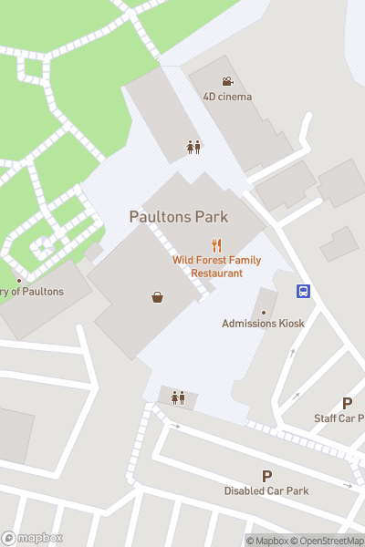 A map indicating the location of Peppa Pig World