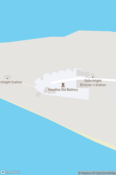 A map indicating the location of The Needles Old & New Battery