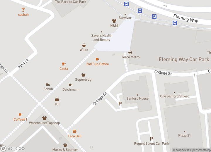 A map indicating the location of Travel Shop