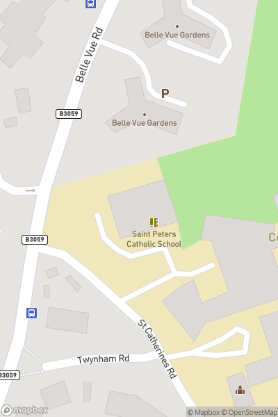 A map indicating the location of St Peter's School