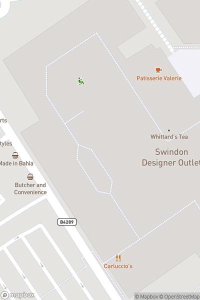 A map indicating the location of Swindon Designer Outlet