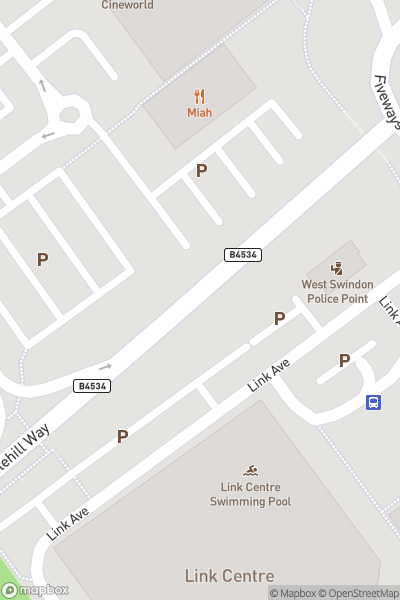 A map indicating the location of Swindon Link Centre