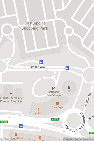 A map indicating the location of Castlepoint Shopping Park