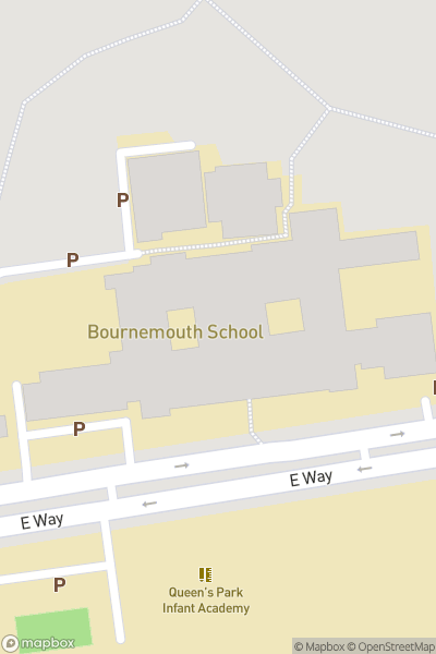 A map indicating the location of Bournemouth School for Boys