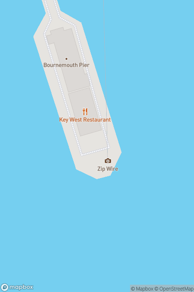 A map indicating the location of Bournemouth Pier and Beach