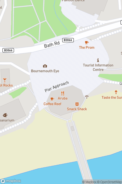 A map indicating the location of Pier Amusements