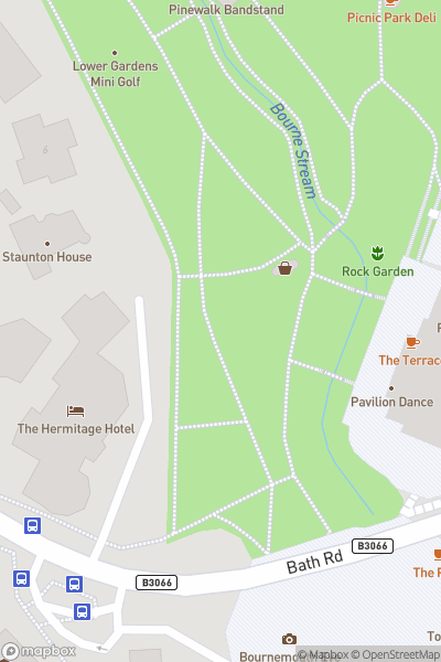 A map indicating the location of Mini Golf in the Gardens