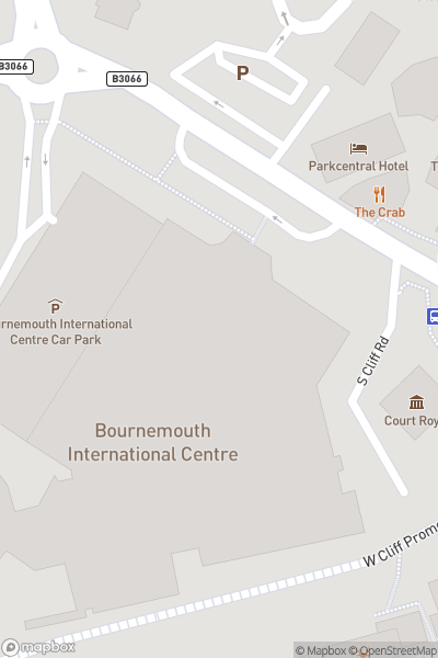 A map indicating the location of Bournemouth International Centre
