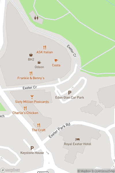 A map indicating the location of Odeon at BH2
