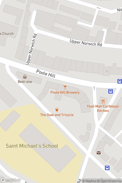 A map indicating the location of Poole Hill Brewery - Southbourne Ales