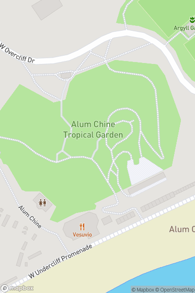 A map indicating the location of Alum Chine Tropical Gardens