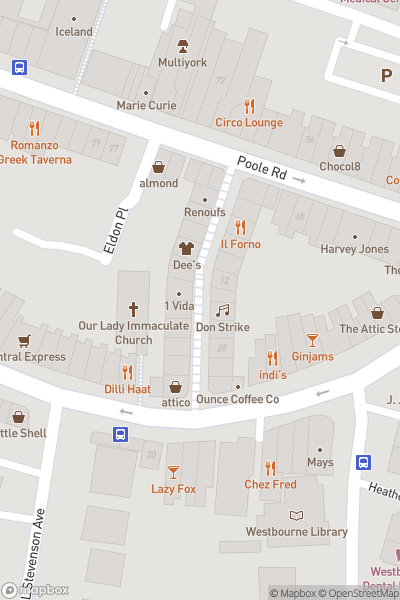 A map indicating the location of Westbourne Arcade