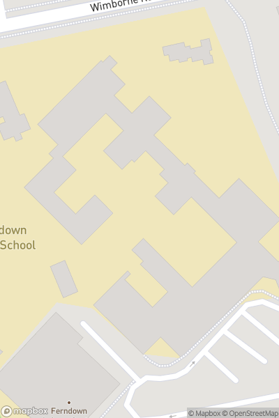 A map indicating the location of Ferndown Upper School