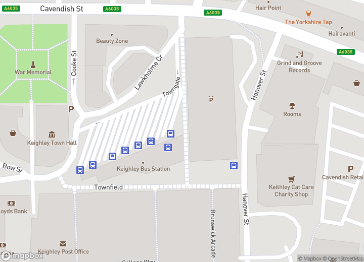A map indicating the location of Keighley bus station